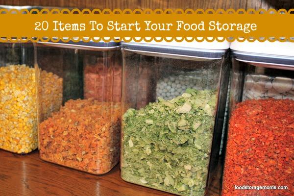 20 Items to Start Your Food Storage Today | via www.foodstoragemoms.com