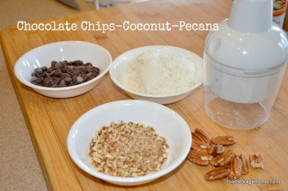 Pancakes with coconut-pecans-chocolate chips