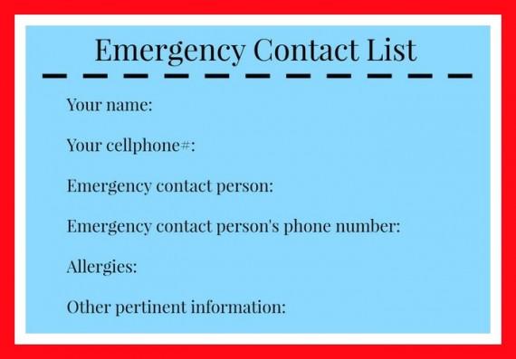 Emergency Hiking List